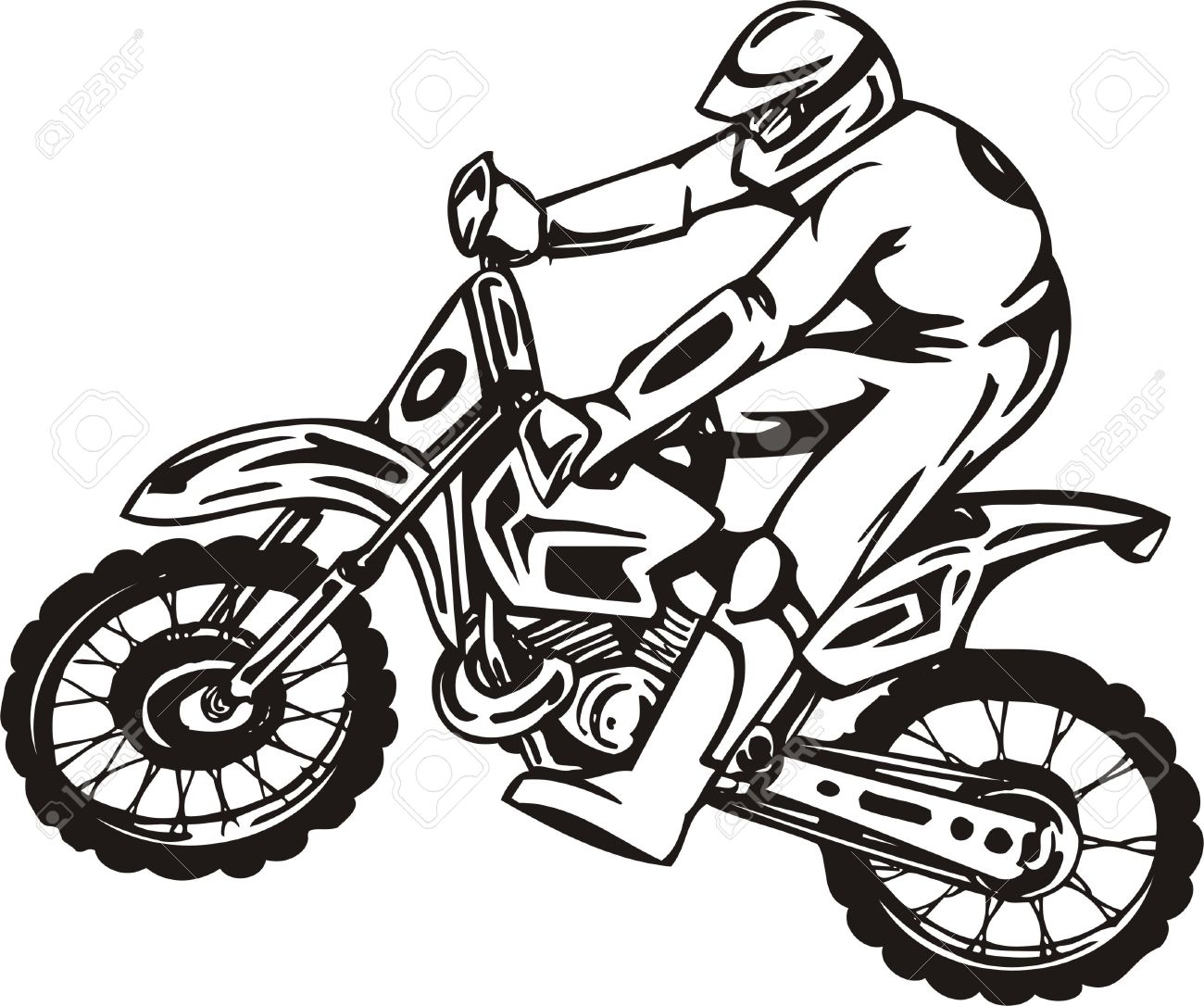 Biker on Motorcycle. Vector Illustration. Stock Vector - 8777288