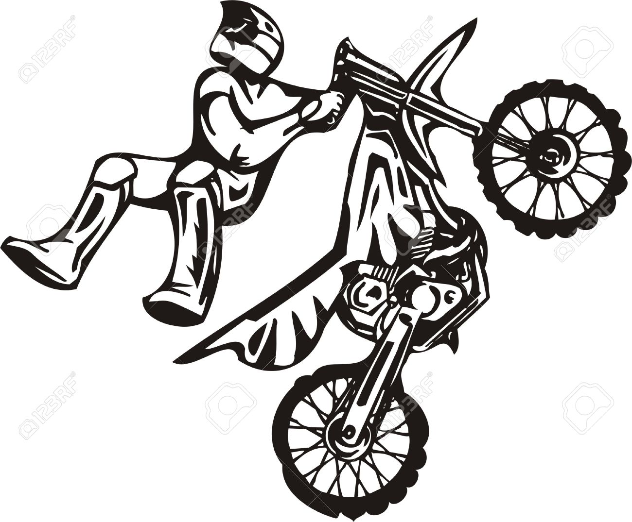 biker on motorcycle vector illustration royalty free cliparts