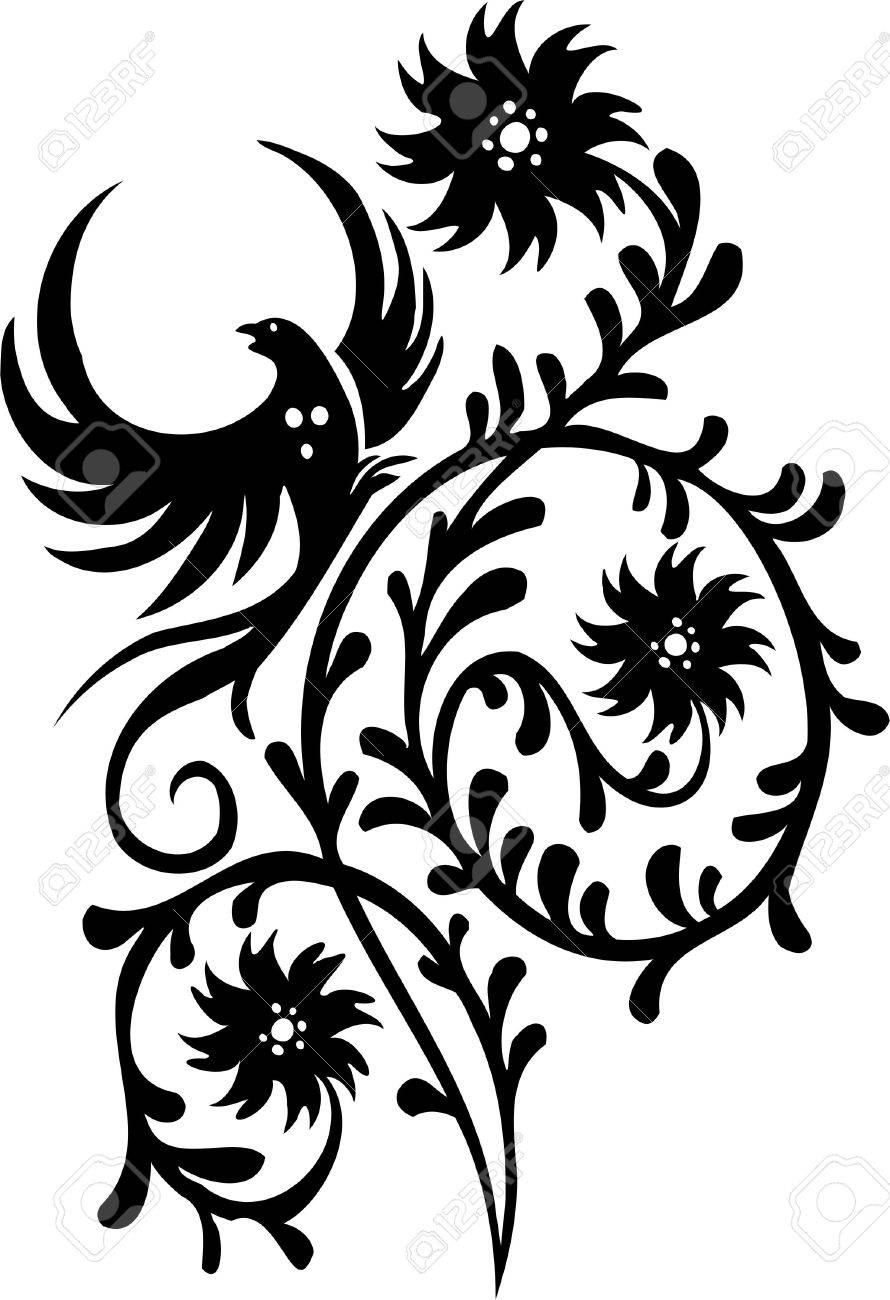 Chinese Floral Design - Vinyl-ready vector image! Stock Vector - 11761555