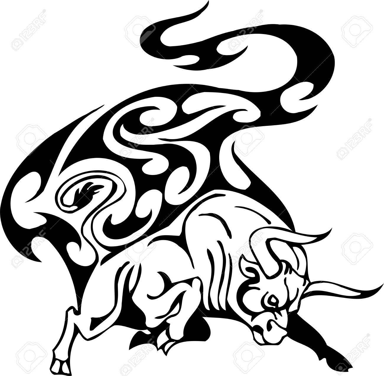 Bull in tribal style - vector image. Stock Vector - 12490322