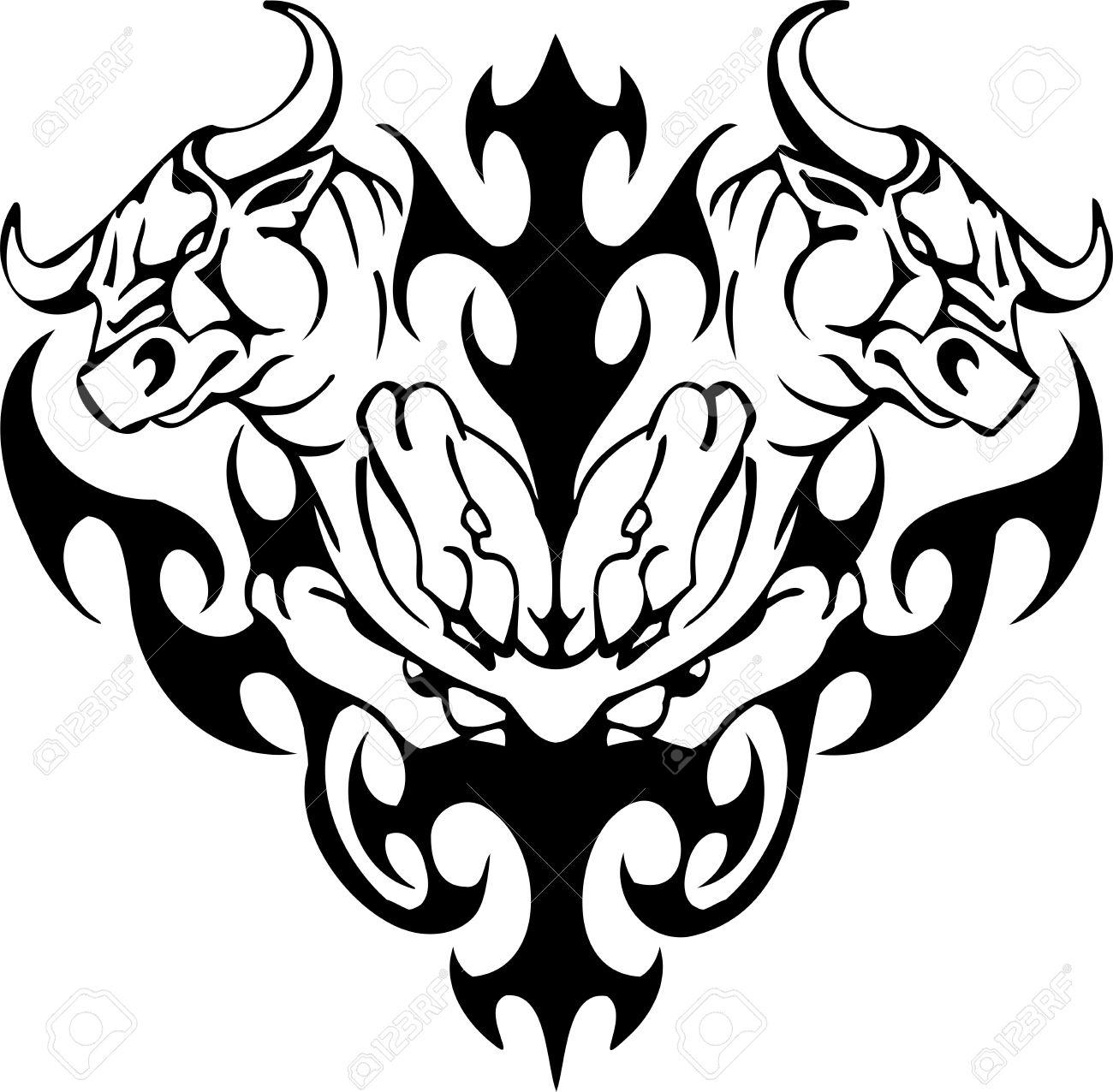 Bull in tribal style - vector image. Stock Vector - 12490478