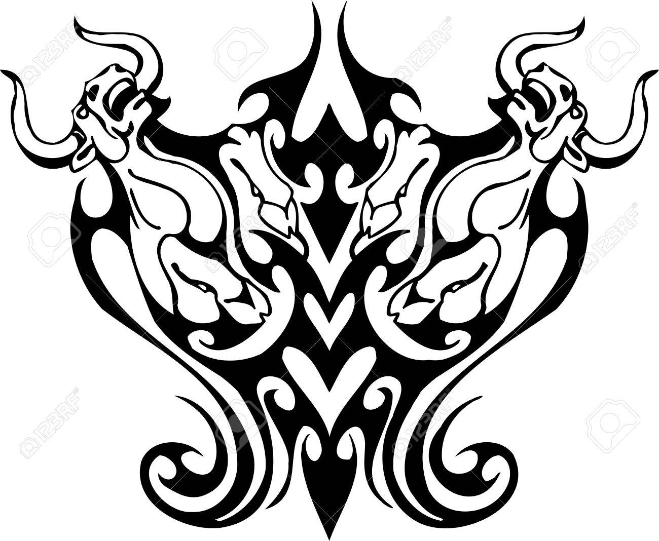 Bull in tribal style - vector image. Stock Vector - 12490475