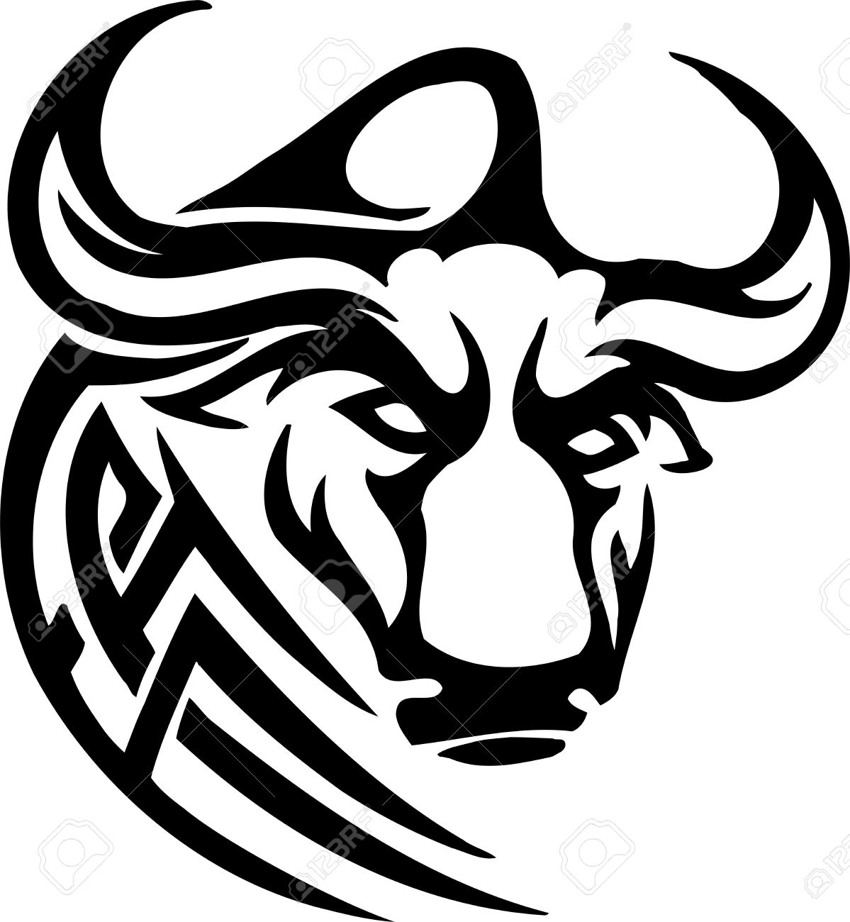 Bull in tribal style - vector image. Stock Vector - 12489665
