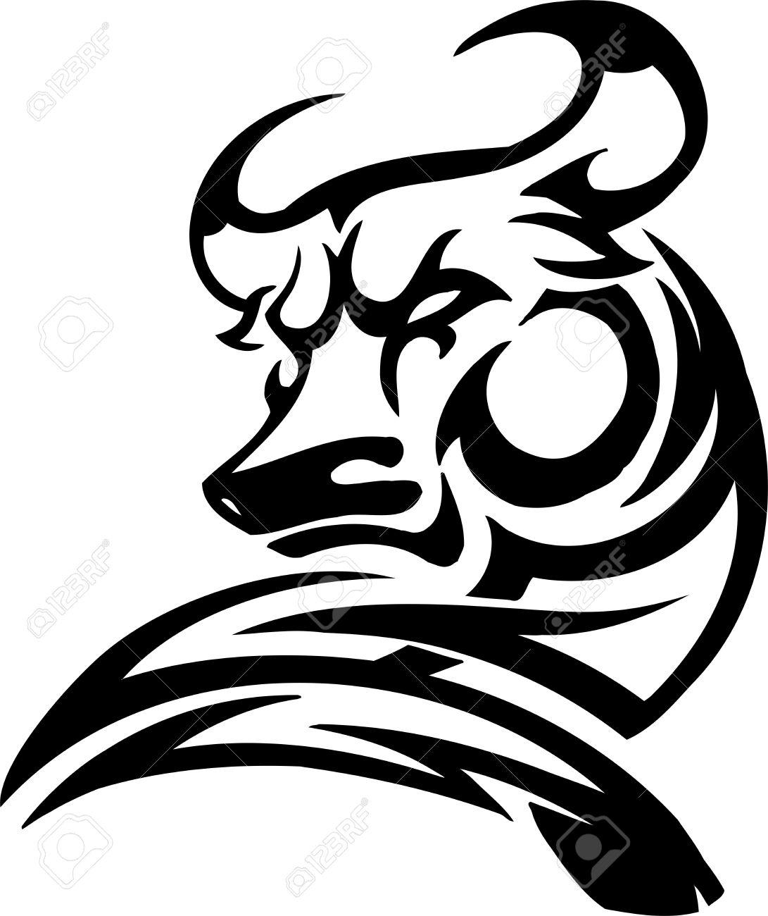 Bull in tribal style - vector image. Stock Vector - 12490613