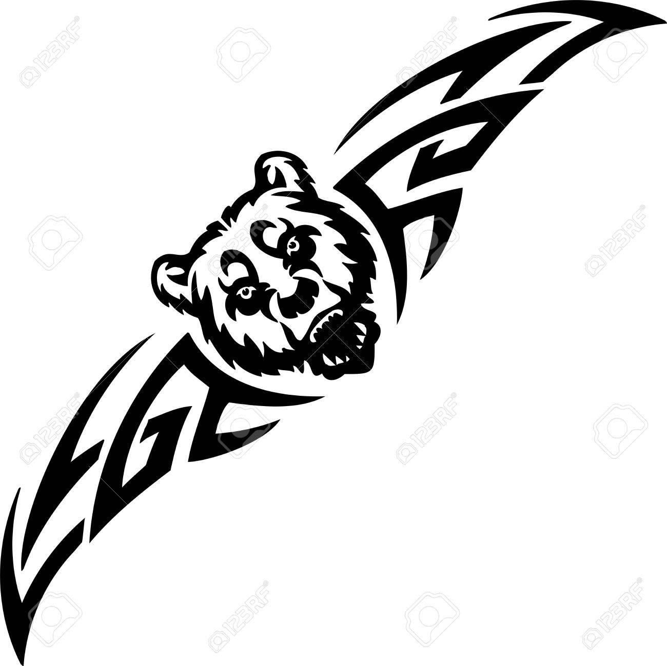 Bear and symmetric tribals Stock Vector - 14096735