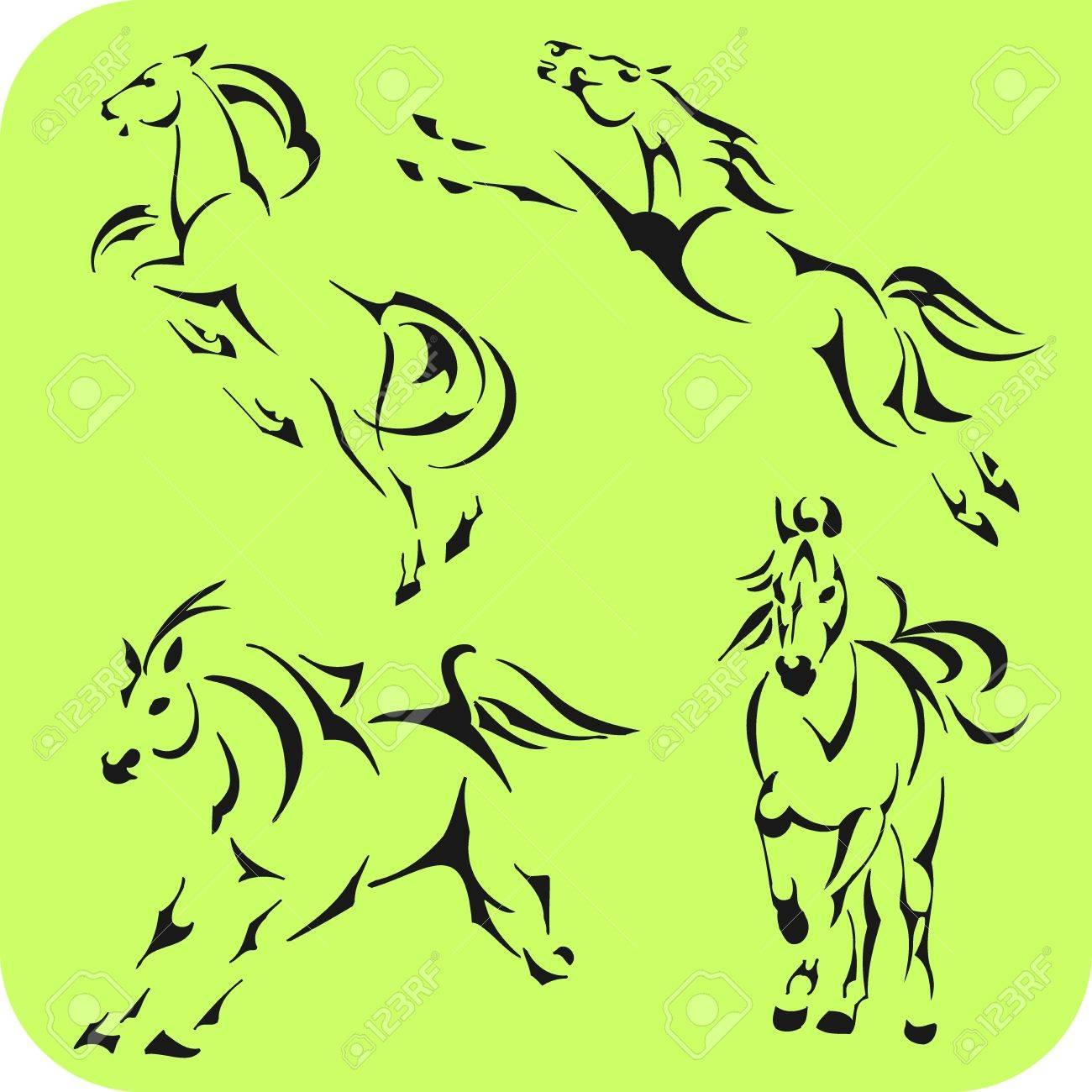 Light Horses -  set  Vinyl-ready Stock Vector - 16666098