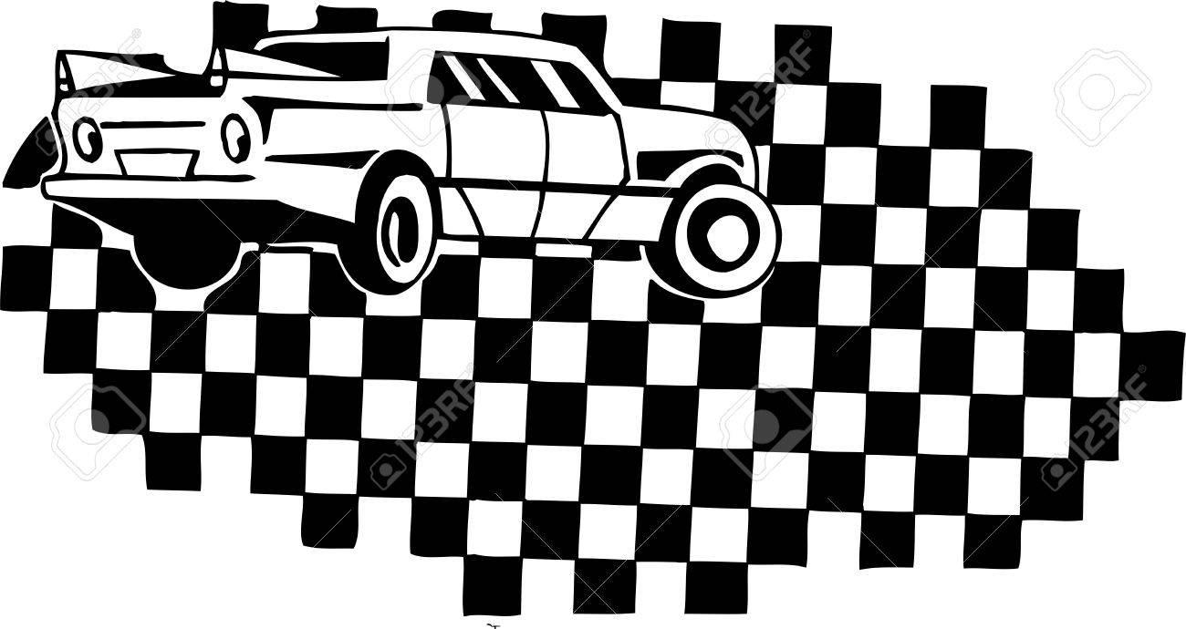 Design car flags - Racing Car And Checkered Flag Vinyl Ready Vector Design Stock Vector 21505495