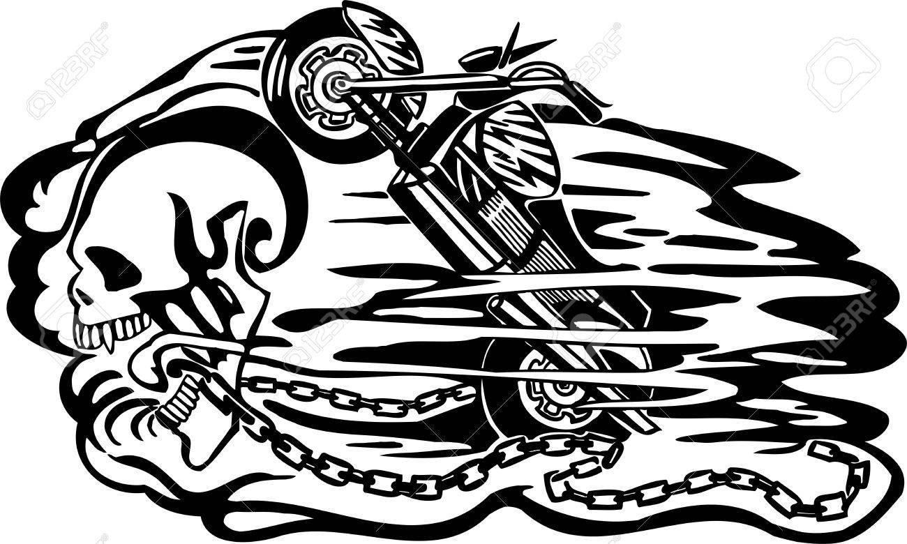 Car sticker design vector free - Skull And Motor Vinyl Ready Vector Design Stock Vector 21505626