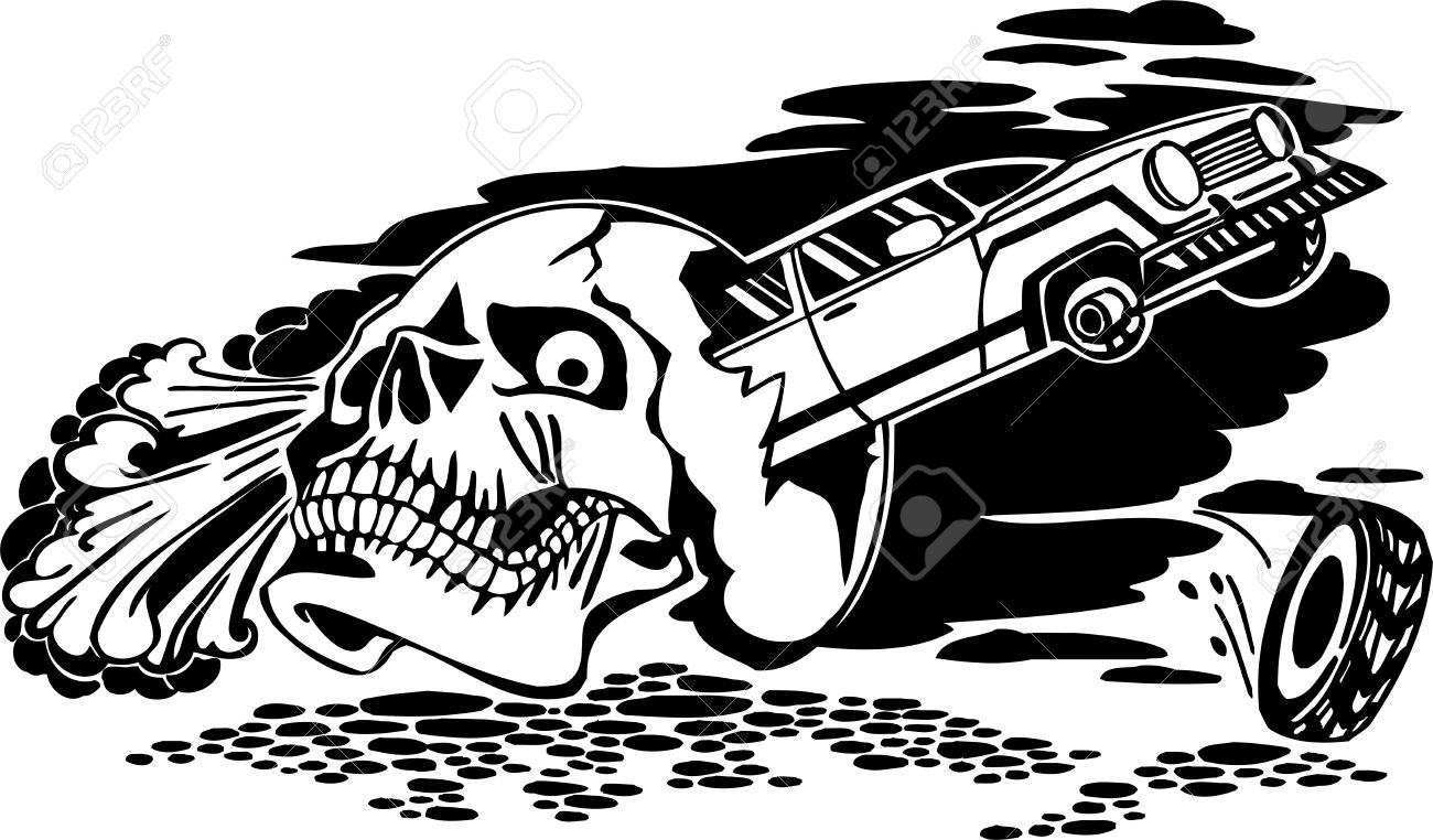 Sticker designs for car - Skull And Car Vinyl Ready Vector Design Stock Vector 21505636