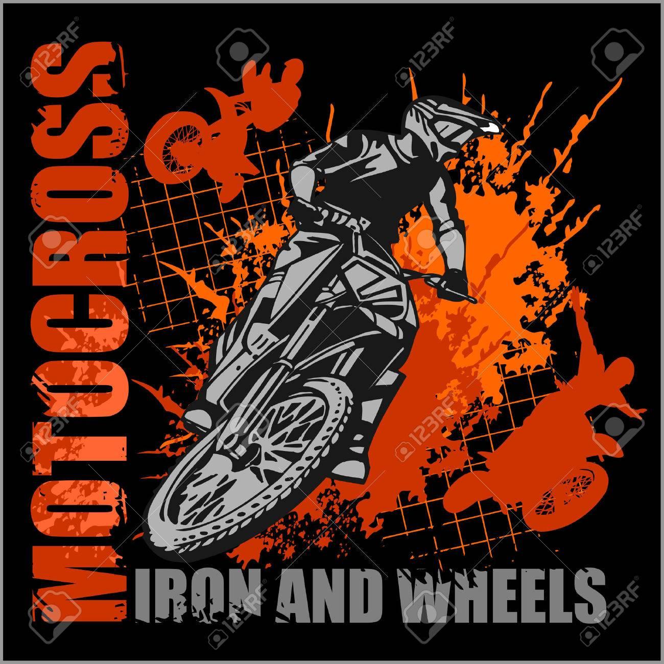 Design t shirt motocross - Motocross Sport Grunge Vector Emblem For T Shirts Stock Vector 38647002