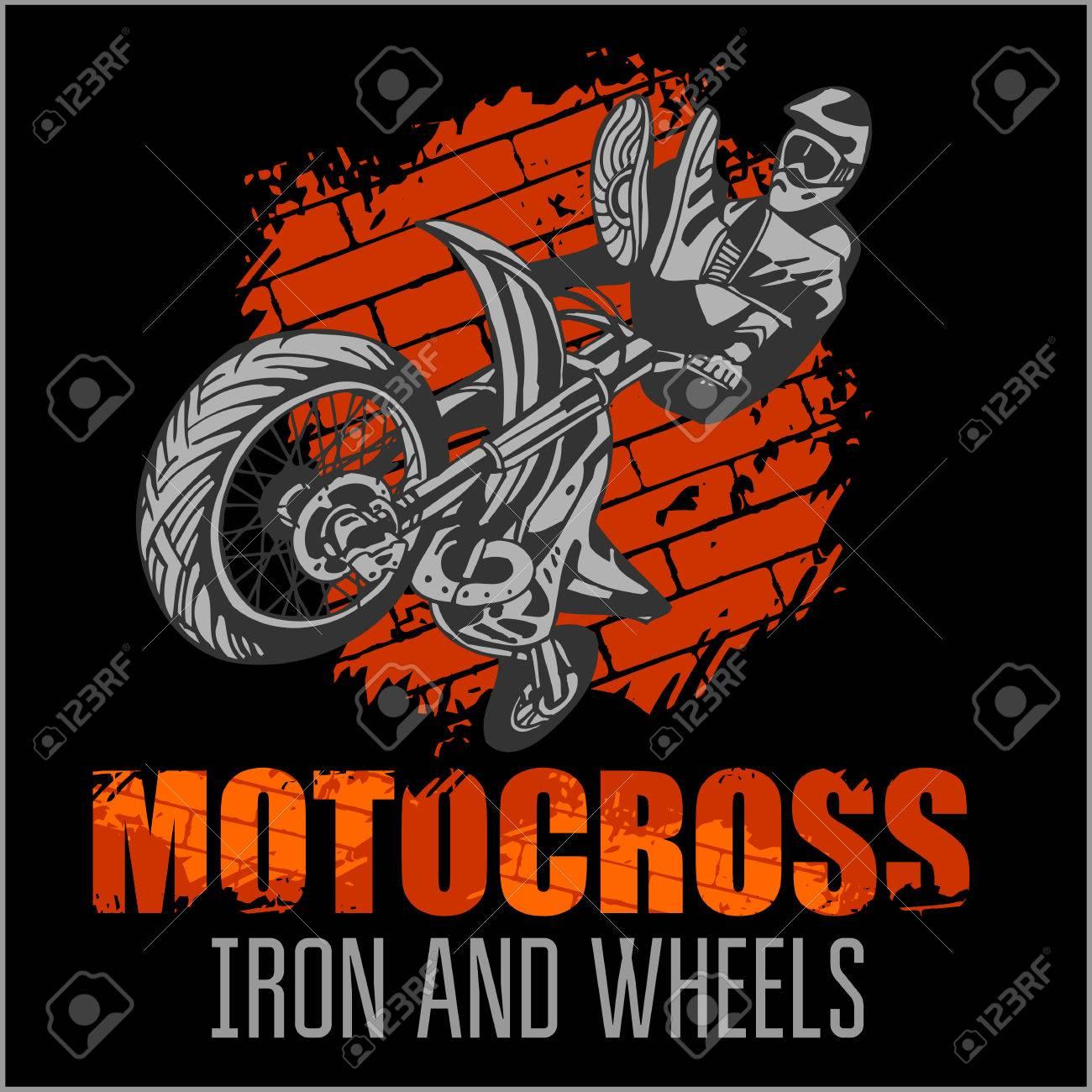 Design t shirt motocross - Motocross Sport Grunge Vector Emblem For T Shirts Stock Vector 38647004