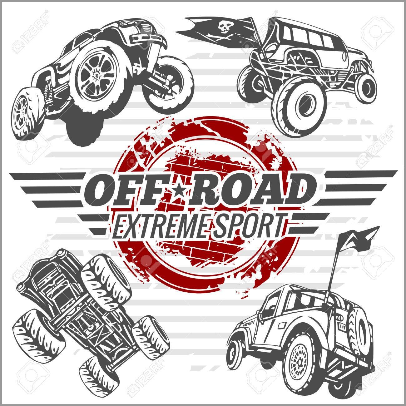 Design car emblem - Emblem With Off Road Cars Vector Set Stock Vector 38709357