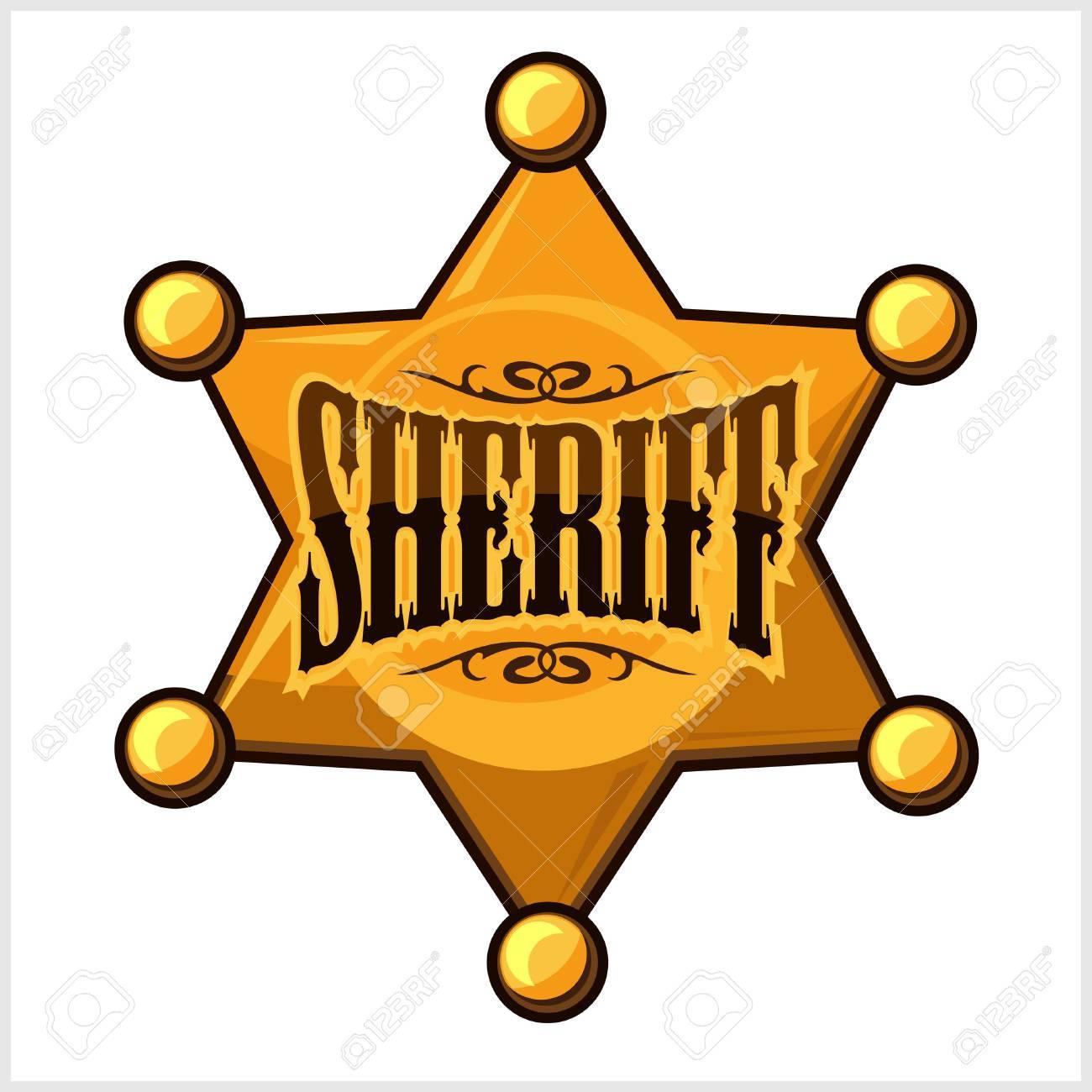 golden sheriff star badge vector illustration isolated on white rh 123rf com sheriff's badge vector indiana sheriff badge vector