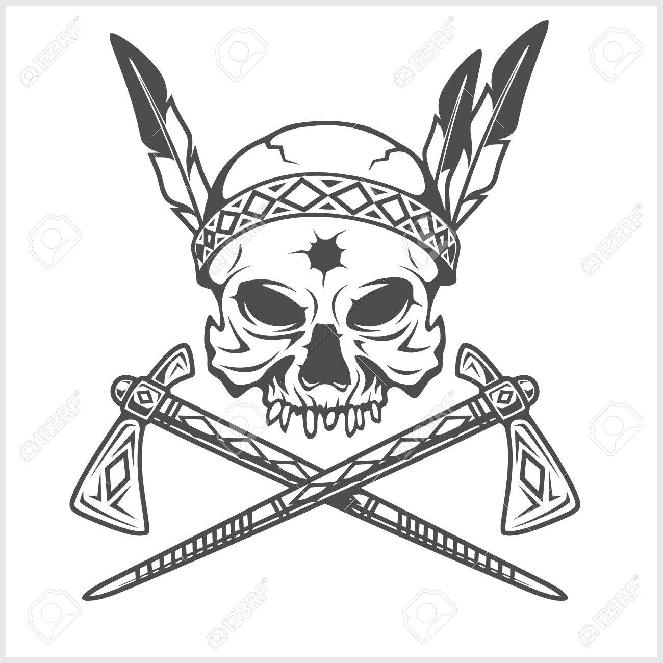 American Indian Chief Skull With Tomahawk isolated in white - 50154249