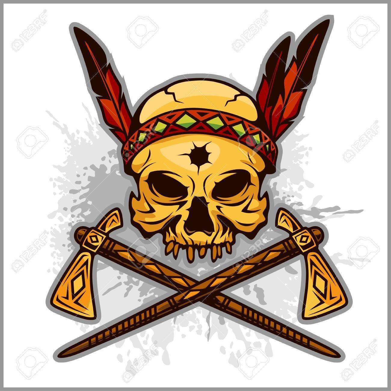 Skull of an indian warrior vector illustration war paint and skull of an indian warrior vector illustration war paint and native american feathers headwear buycottarizona Images