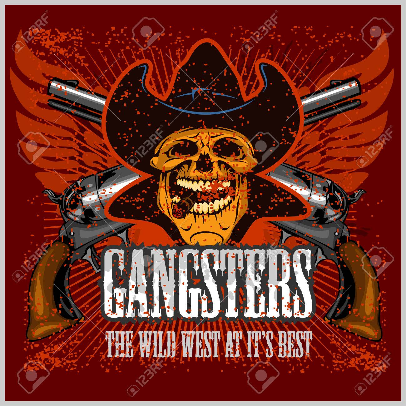 Gangster skull with cowboy hat and pistols - grunge vintage poster Stock  Vector - 51237774 a983e4f0e7b2