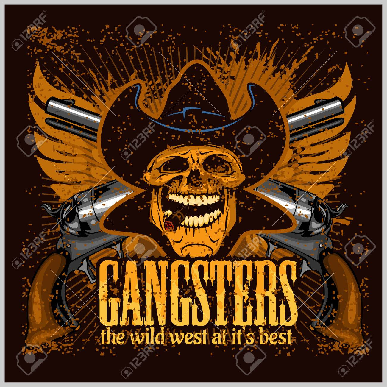Gangster skull with cowboy hat and pistols - grunge vintage poster Stock  Vector - 51237776 ebcead4c3bd2