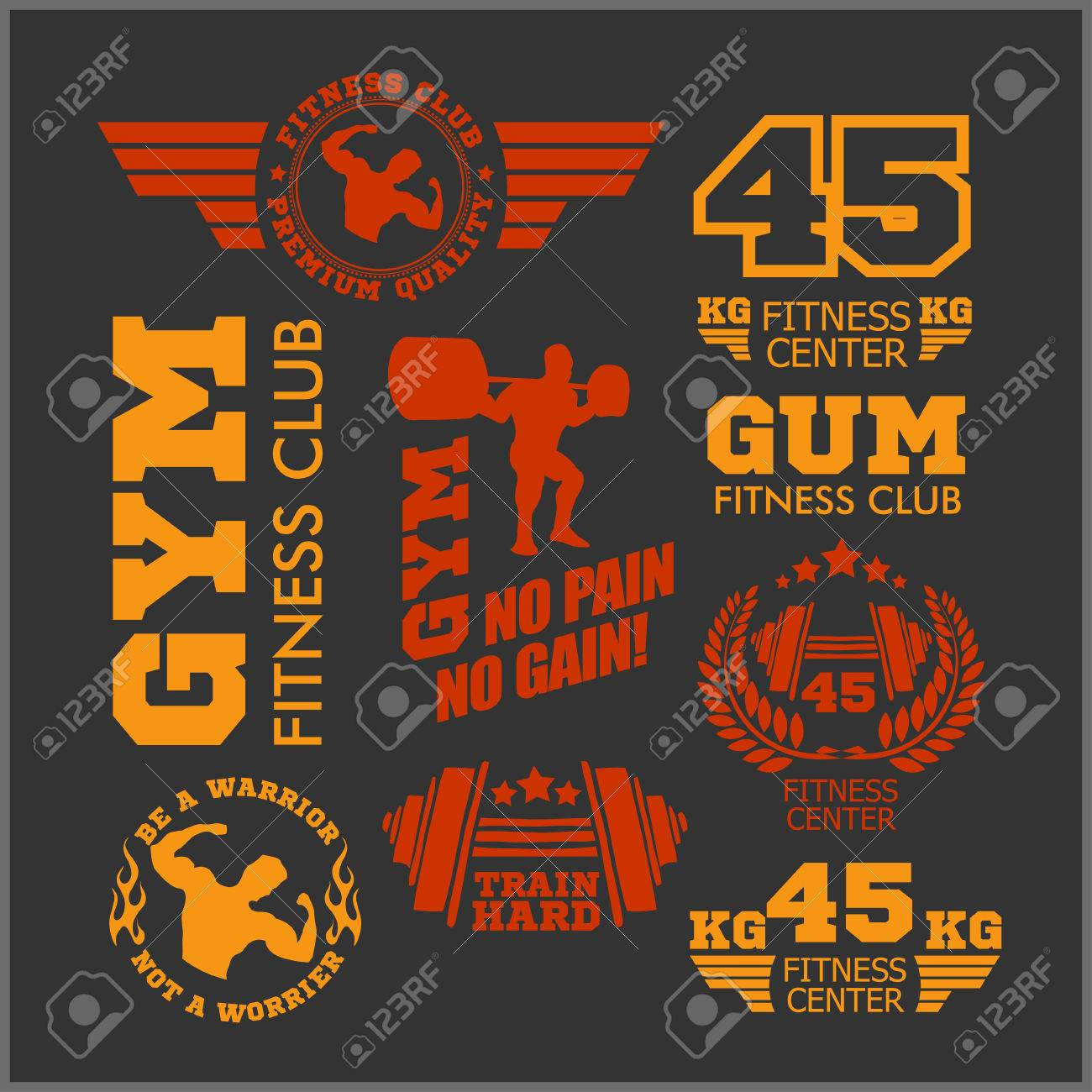 set of two color sports and fitness logo templates gym logotypes