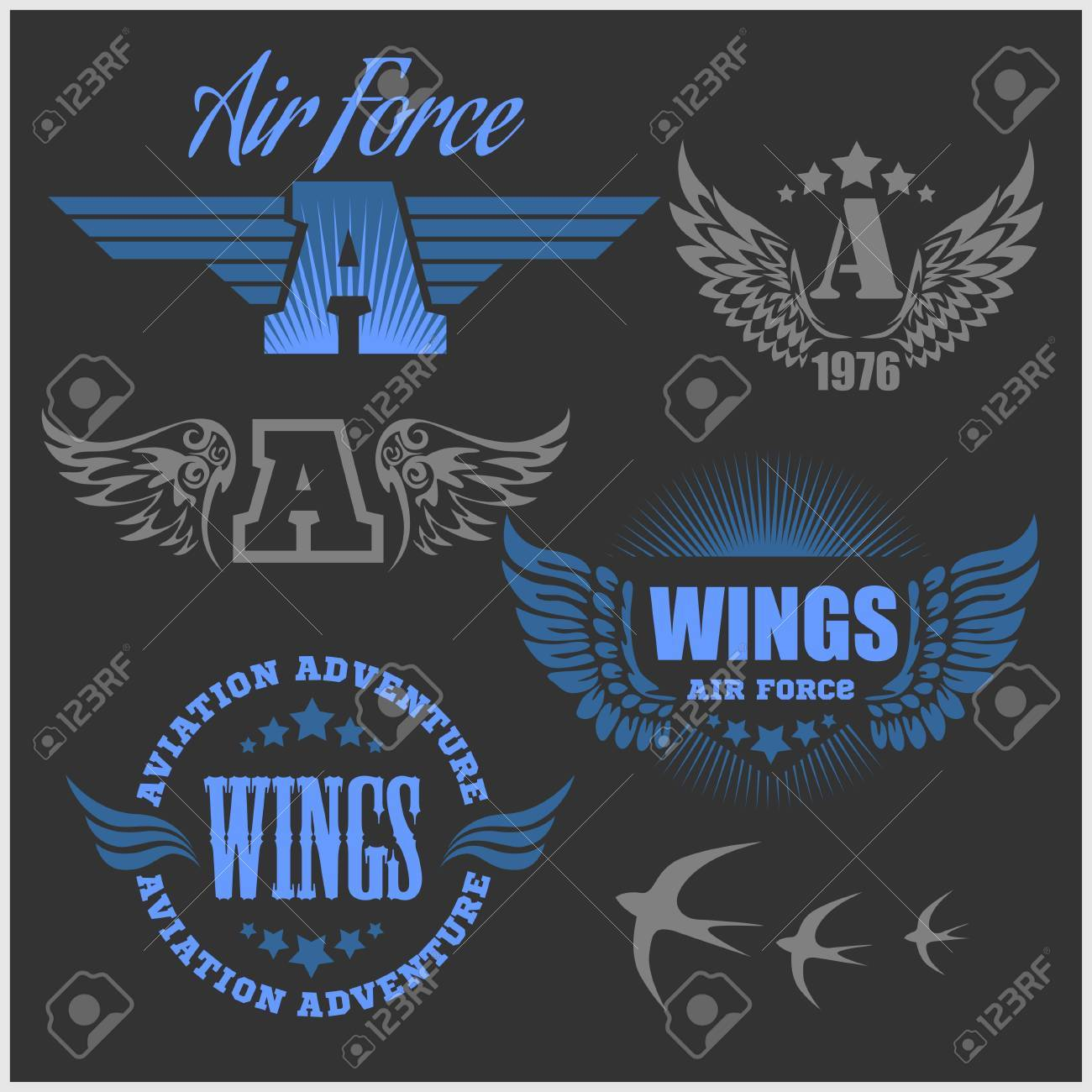 Air Force Shields And Labels With Wings Isolated On Dark Royalty ...
