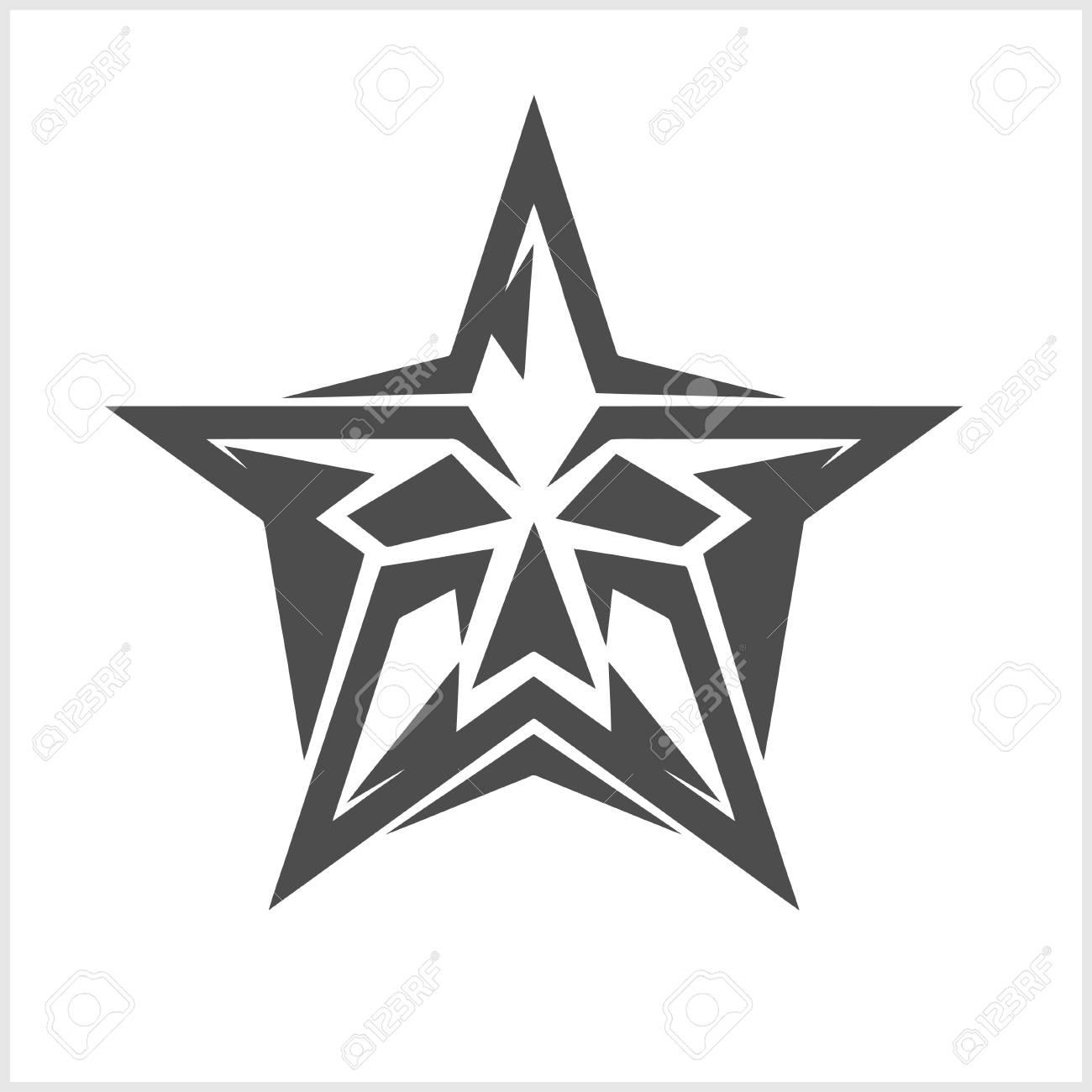 Estrella Con Calavera Elemento De Vector Abstracto Para Tatuaje Y
