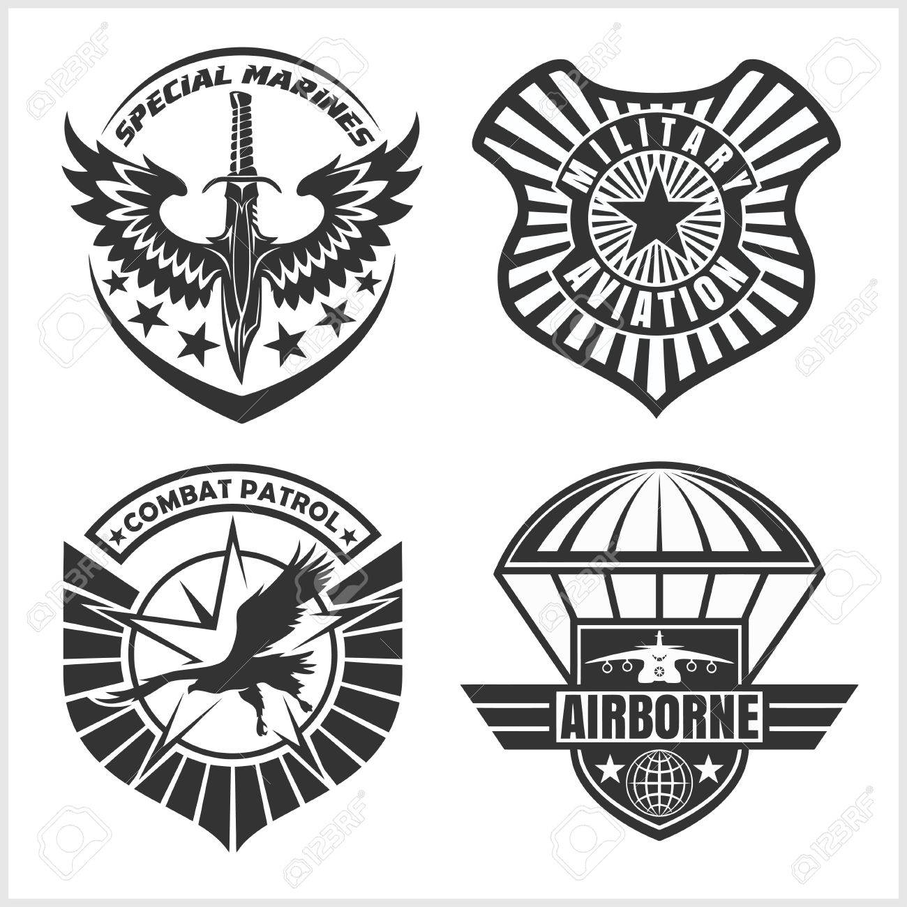 military airforce patch set armed forces badges and labels rh 123rf com air force logo vector file air force logo vector art
