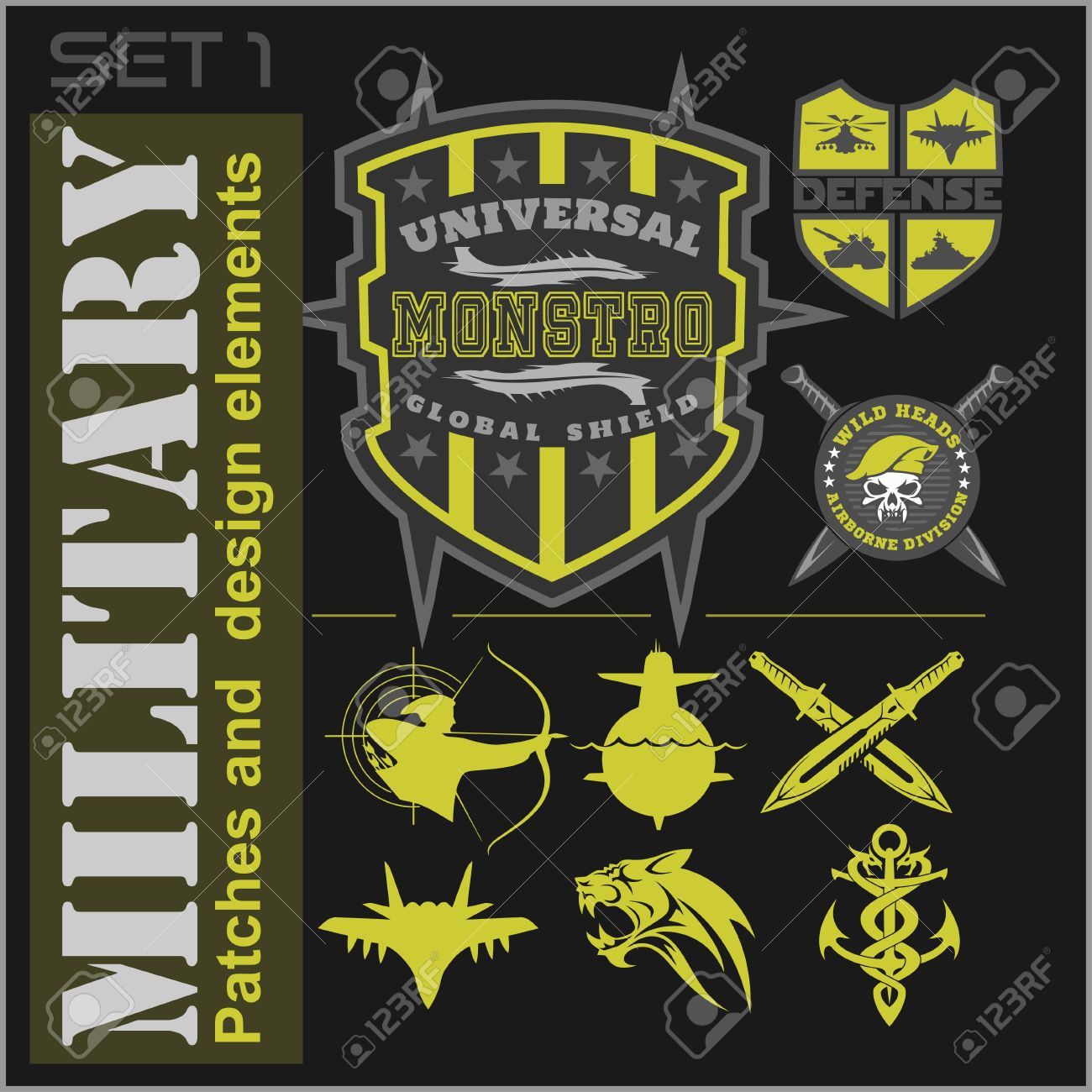 set of military patches logos badges and design elements graphic