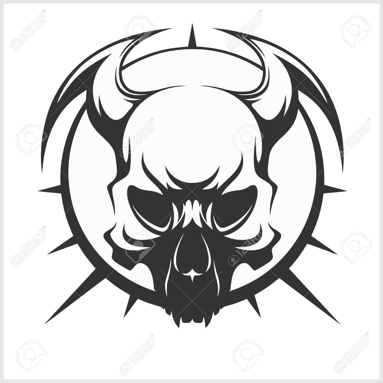 Skull tattoo and tribal design isolated black on white stock vector 58745079