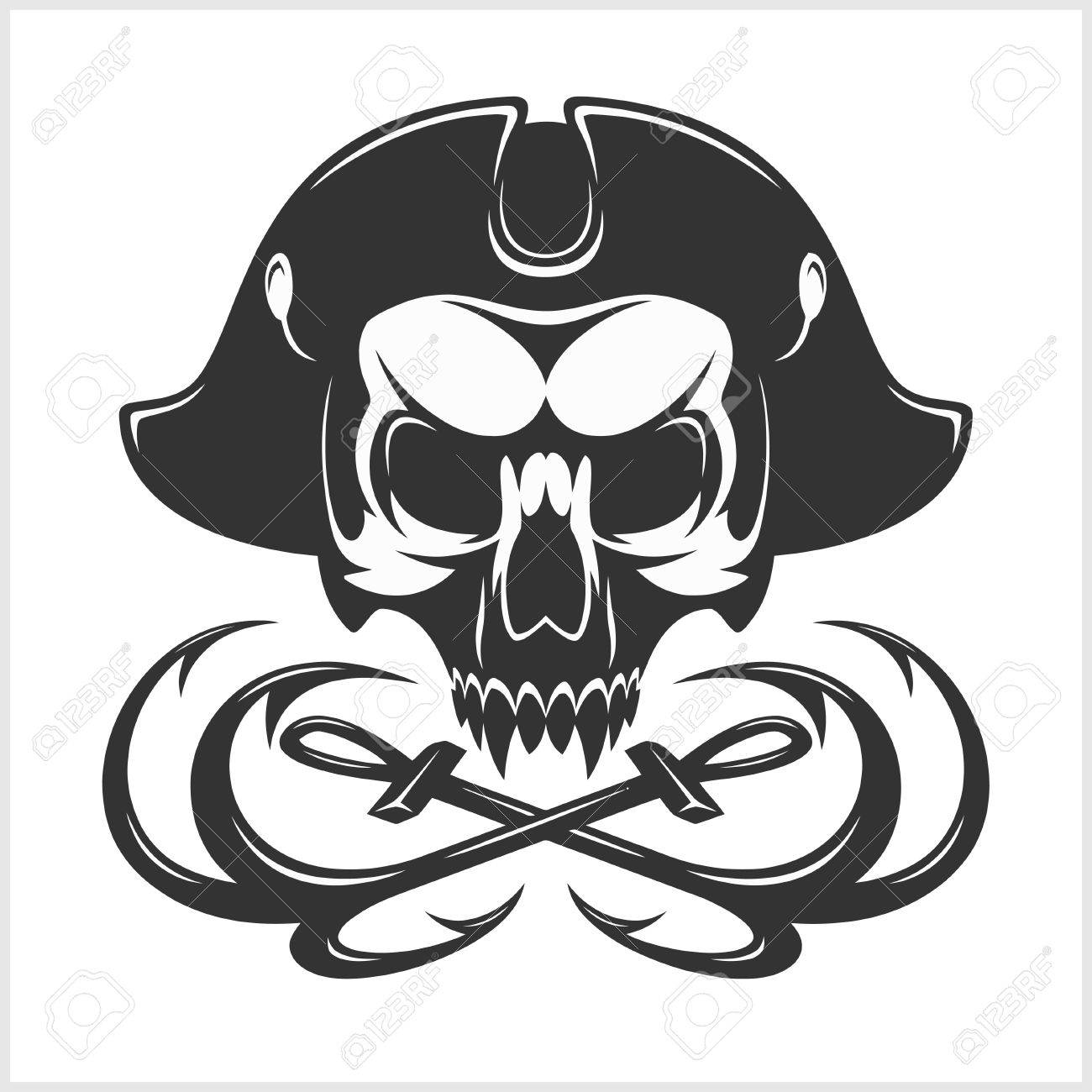 Jolly Roger With Eyepatch Logo Template Dark T Shirt Design Pirate Insignia Concept