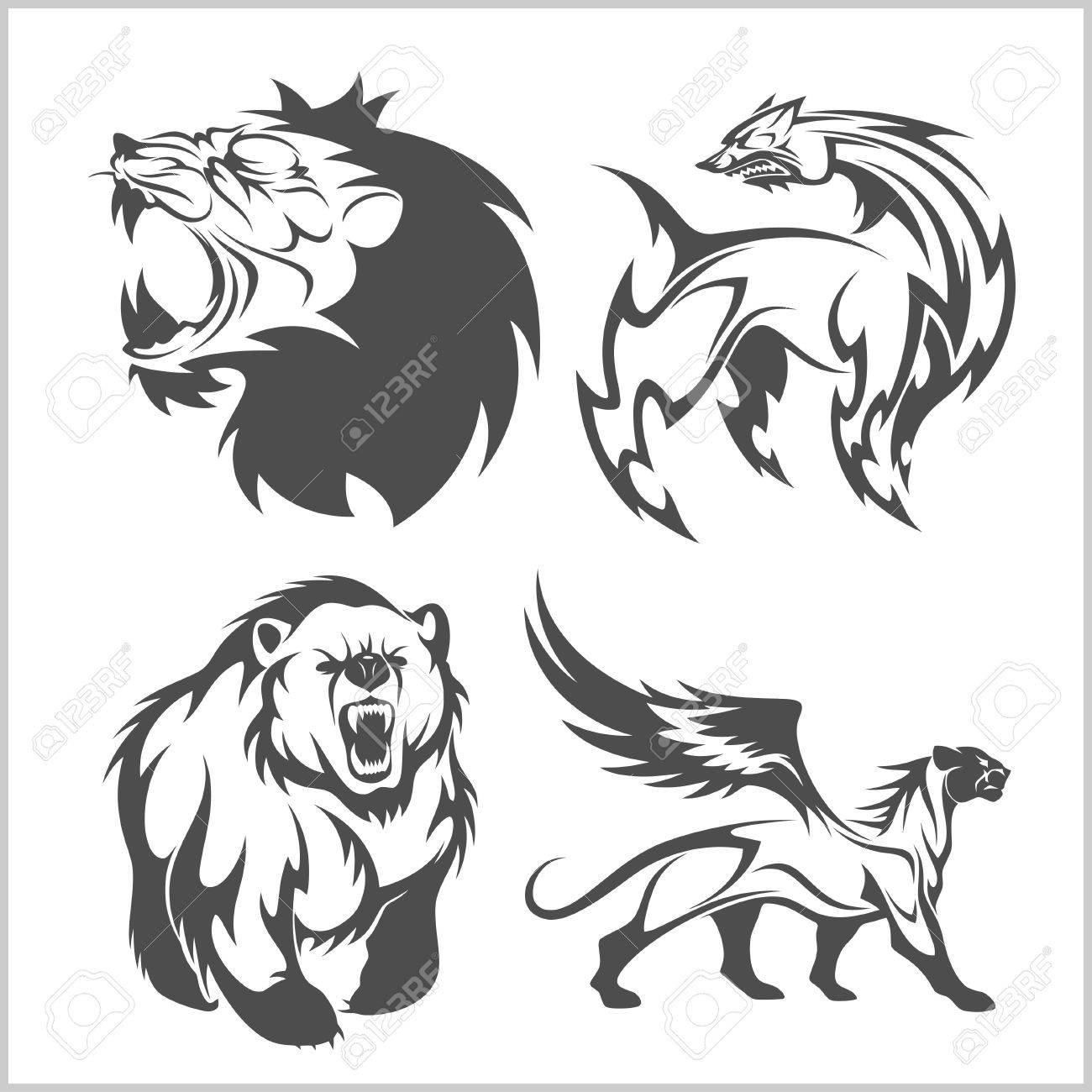 Cabeza De León Oso Tatuajes Cad Griffin Y Diseños En El Estilo