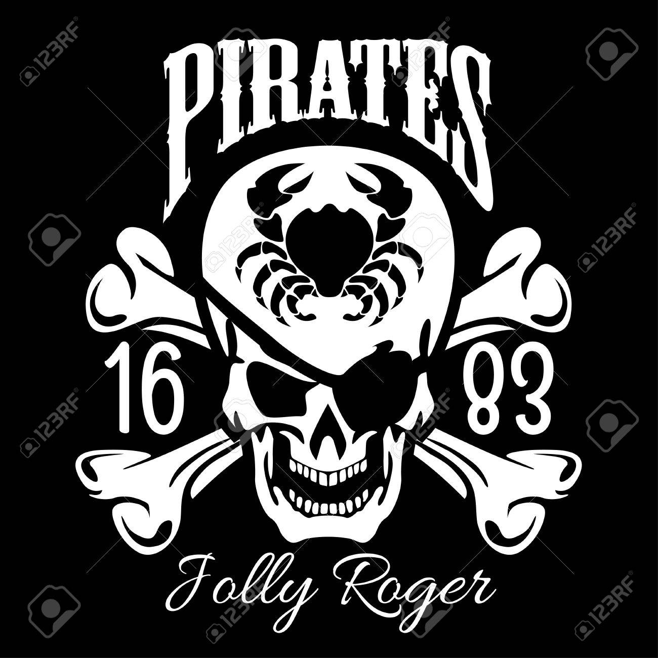Pirates jolly roger symbol vector poster of skull with pirate pirates jolly roger symbol vector poster of skull with pirate eye patch crossed bones buycottarizona Images