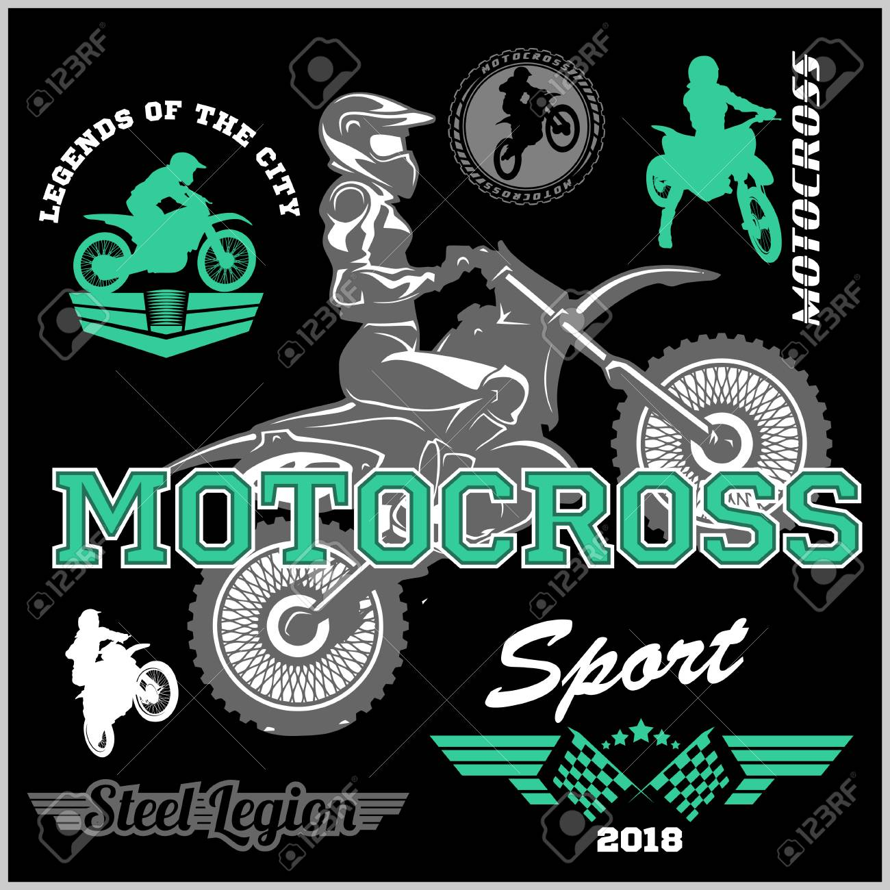 Motocross Rider Badge Logo Emblem Vector Illustration Royalty Free Cliparts Vectors And Stock Illustration Image 85034236
