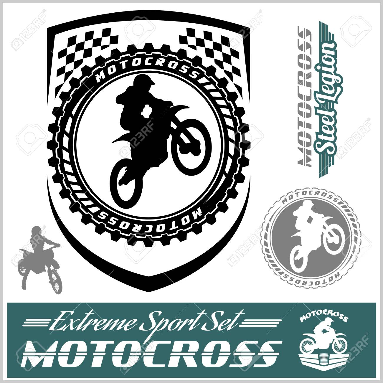 Motocross Track Logos And Badges Royalty Free Cliparts Vectors And Stock Illustration Image 85245012