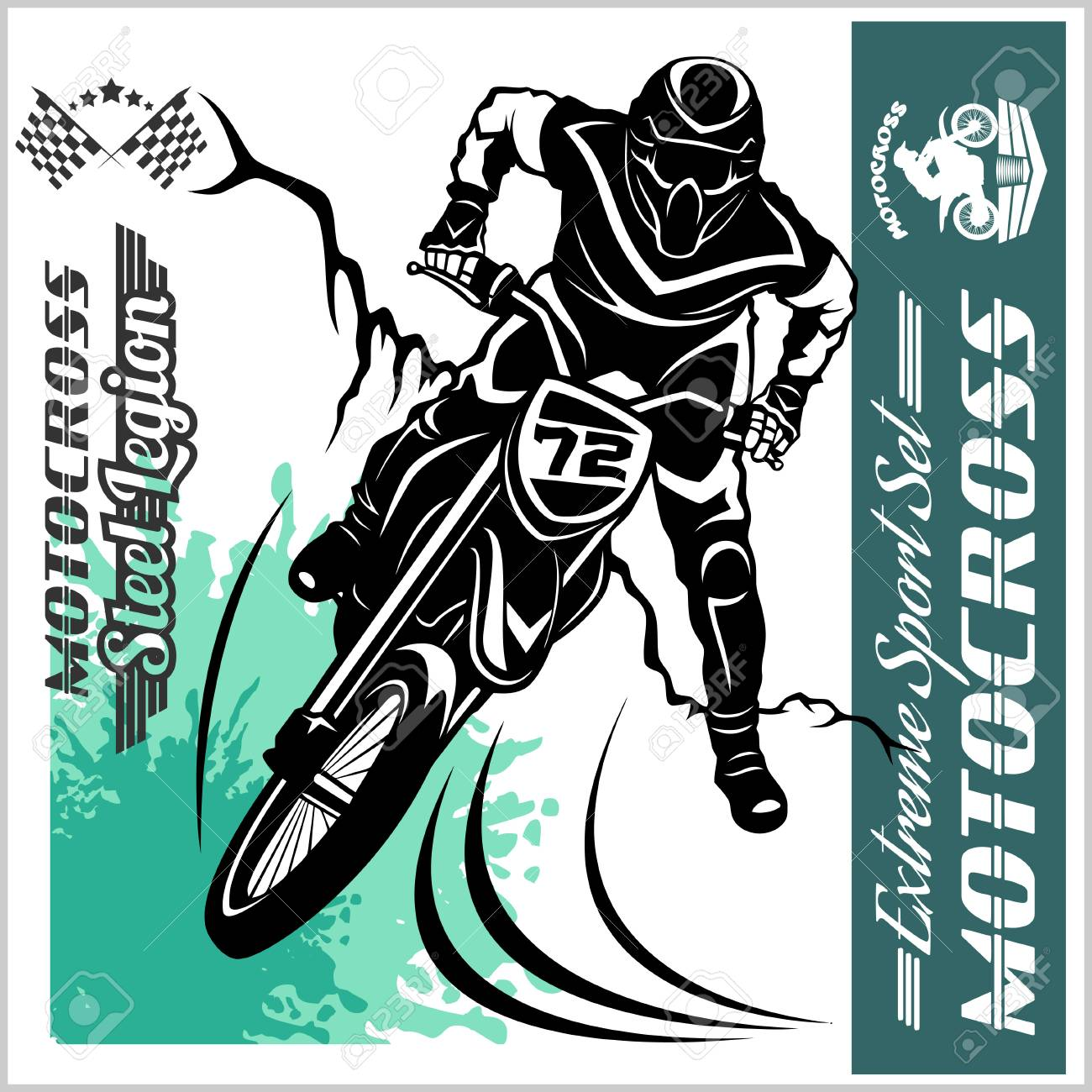 Motocross Rider Vector Emblem And Logos Royalty Free Cliparts Vectors And Stock Illustration Image 85245061