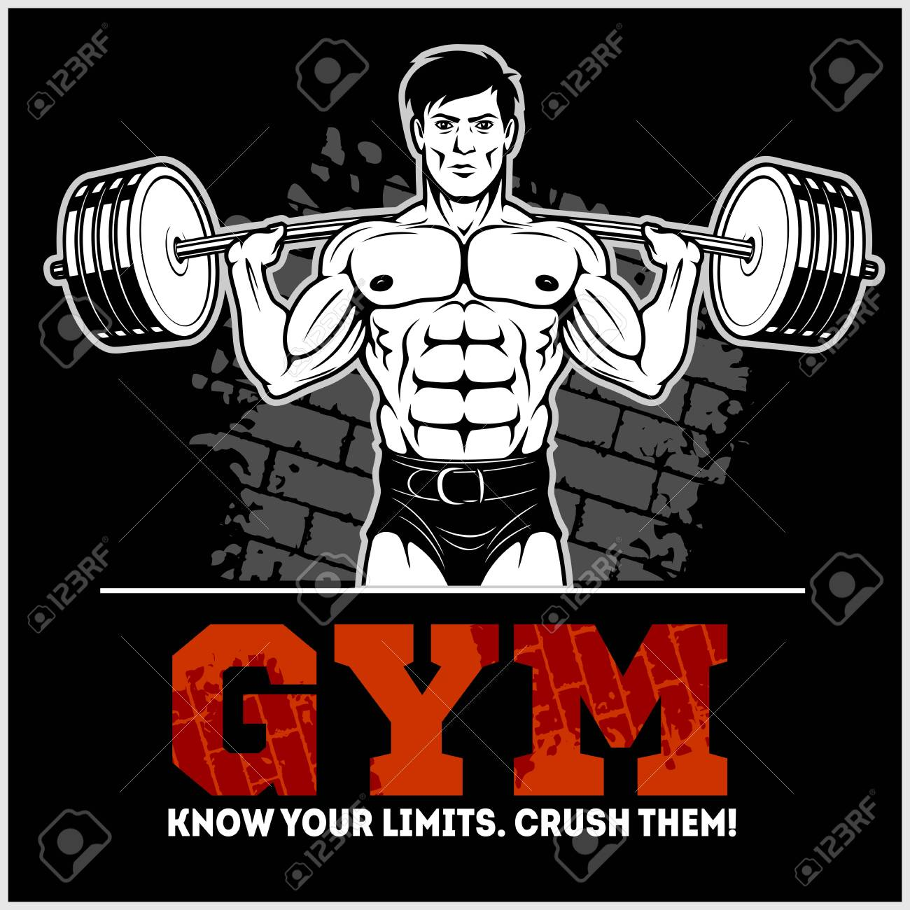 Gym poster template with a bodybuilder with a barbell working