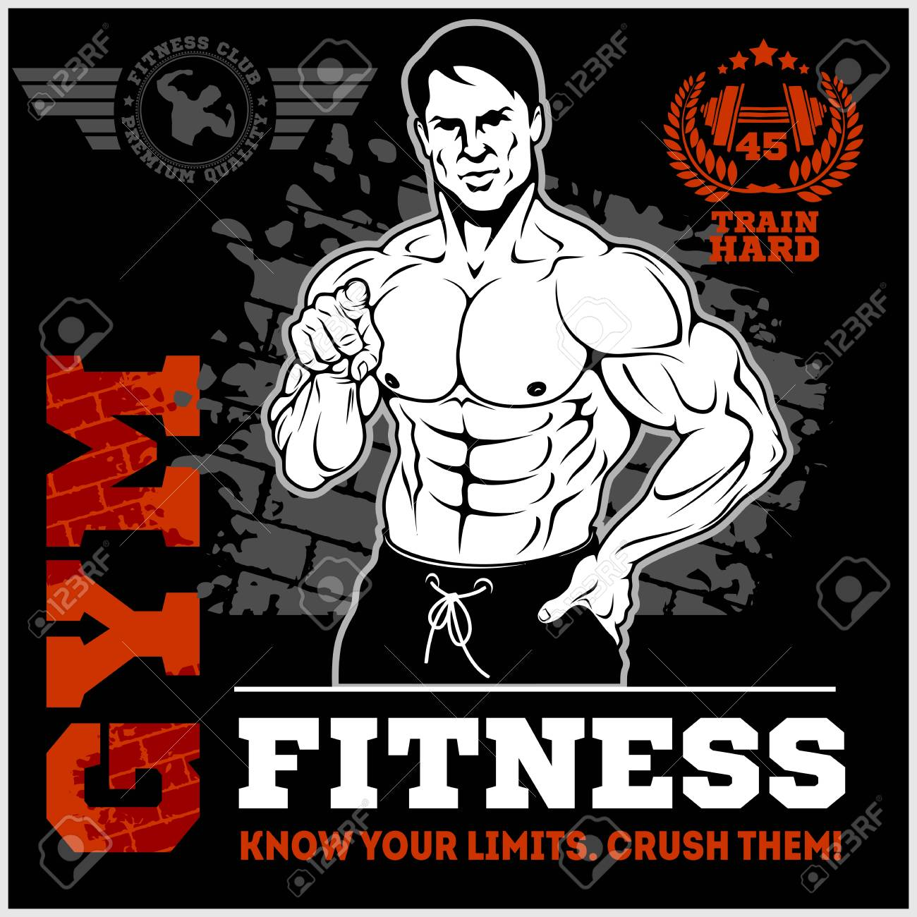 Gym poster template with a bodybuilder pointing a finger