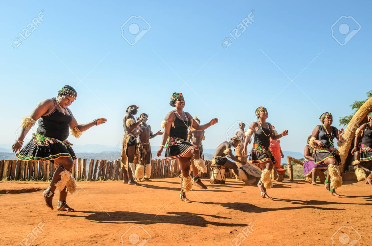 Zulu cultural experience, dressed in traditional gearZulu dressed in traditional gear dancing. Valley of a Thousand Hills, South Africa - 81985704
