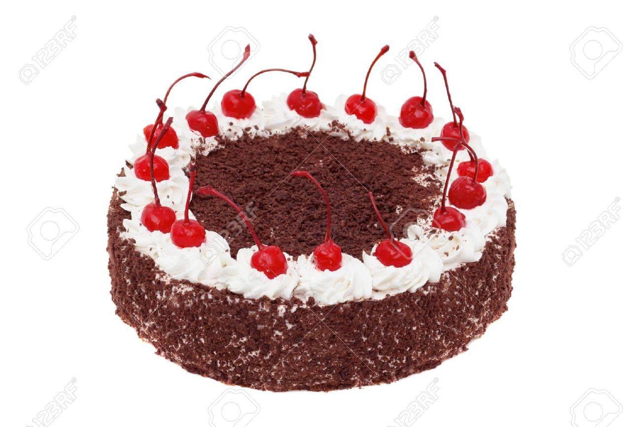Kuchen Mit Kirschen Und Schokolade Isoliert Auf Weiss Lizenzfreie