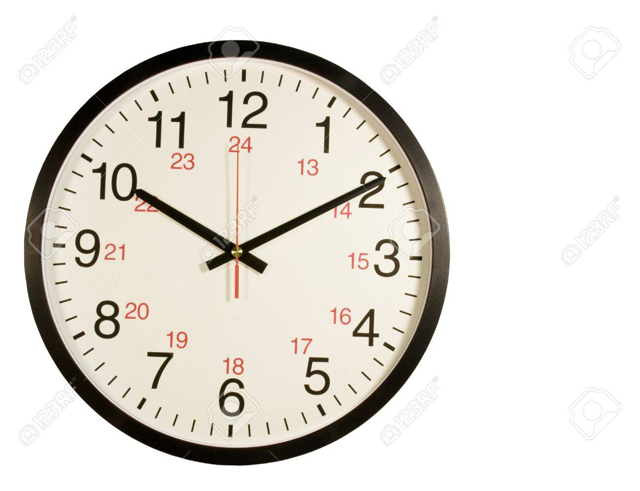 Military Time Clock >> Round Clock With Regular And Military Time On The Face Isolated