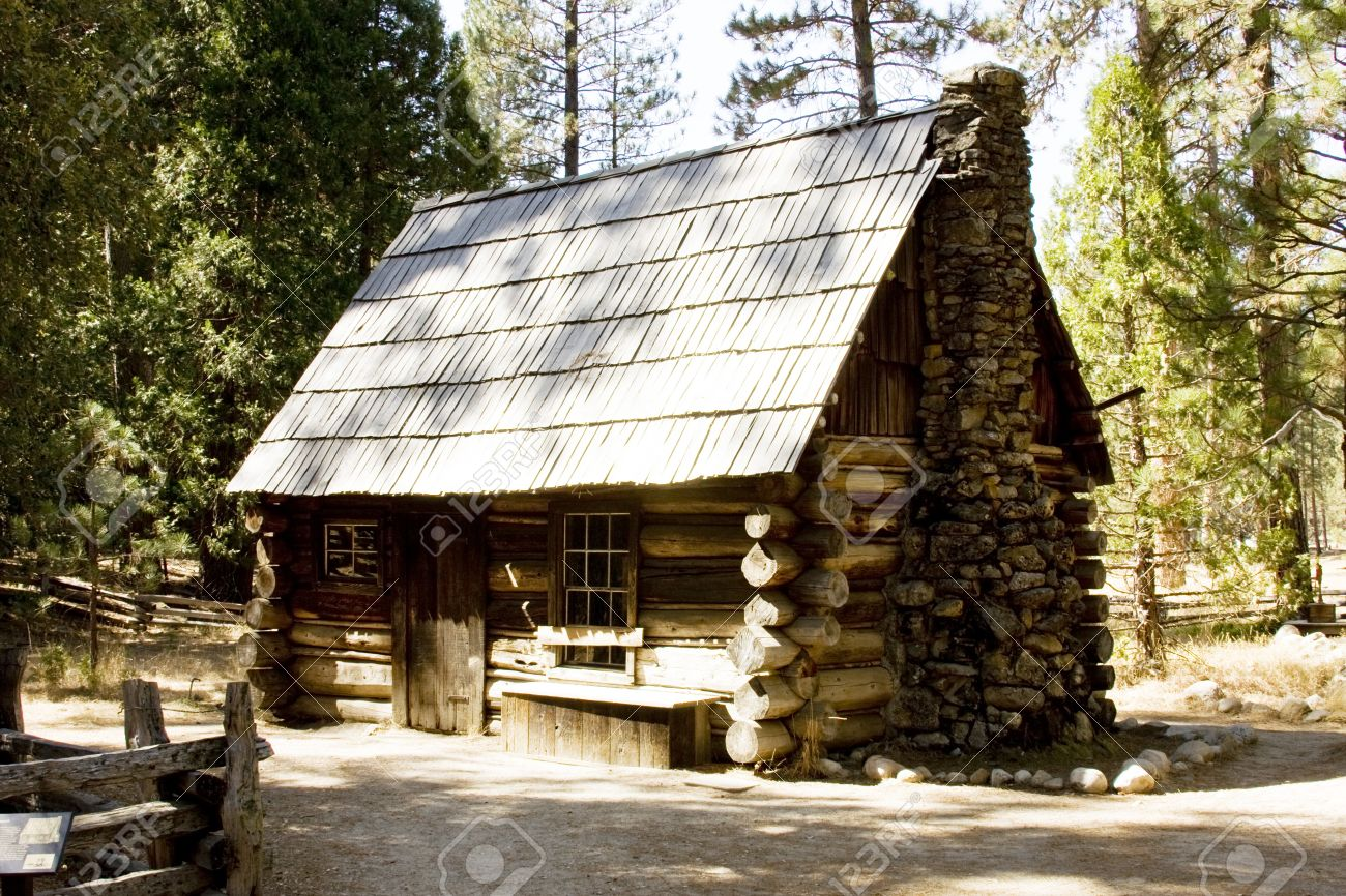 Stock Photo   Wilderness Mountain Log Cabin Located In Yosemite National  Park