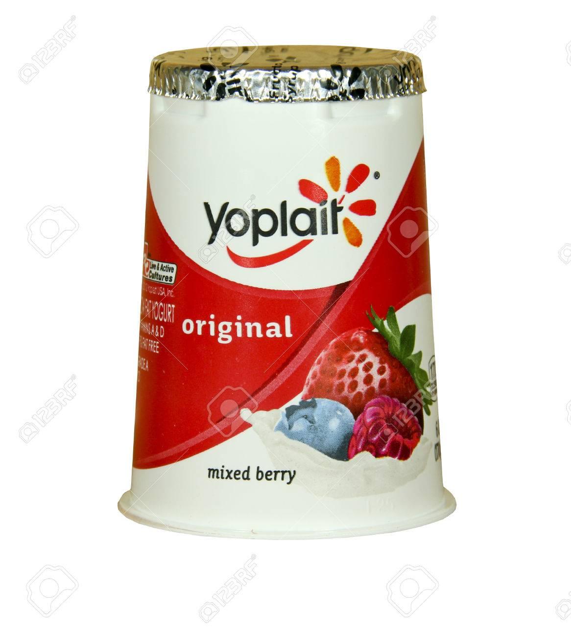 SPENCER , WISCONSIN-APRIL 17, 2014 : Yoplait Mixed Berry Yogurt. Yoplait is