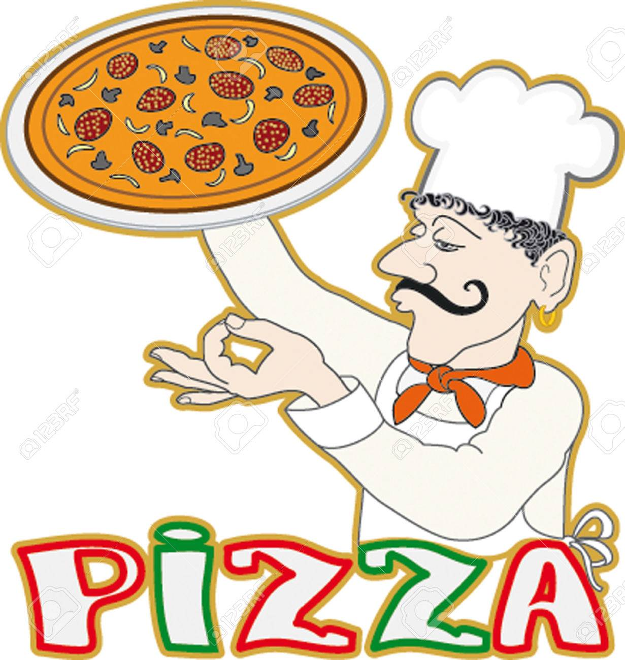 Pizza Chef Logo Chef With The Pizza Logo