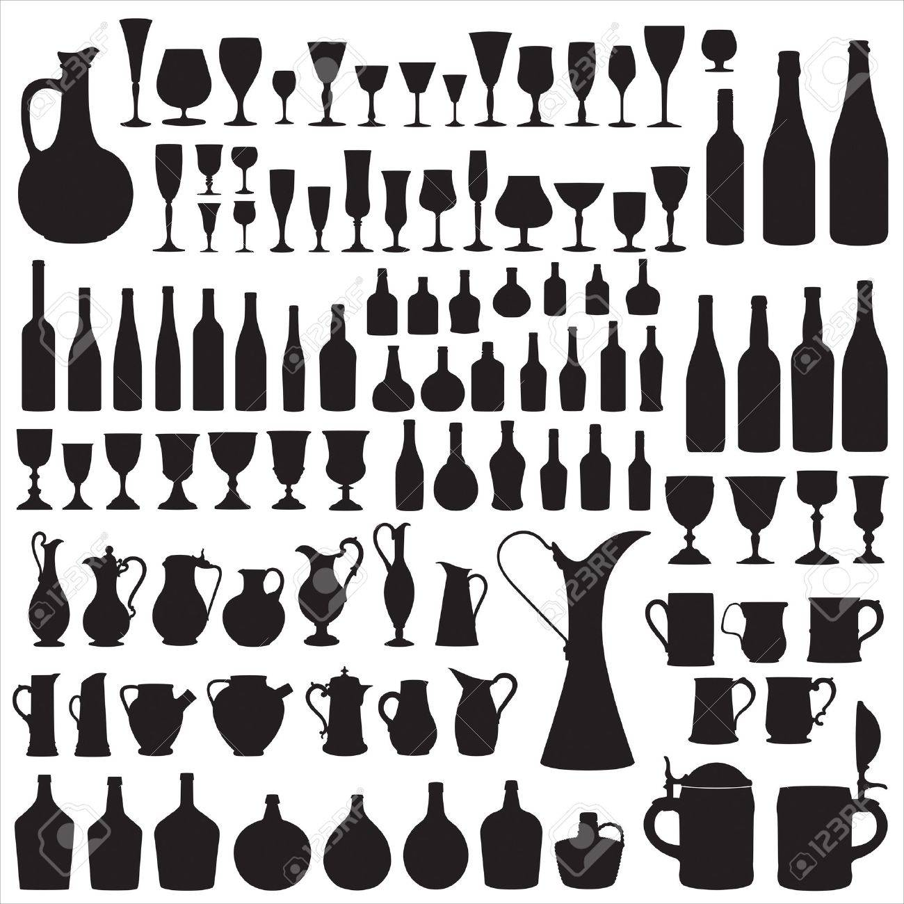 Wineware silhouettes Stock Vector - 9395526