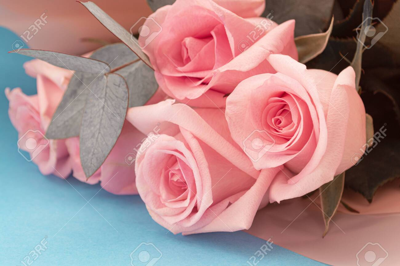 Soft Dusky Pink Color Roses Aesthetic Bouquet With Eucalyptus Stock Photo Picture And Royalty Free Image Image 142366533