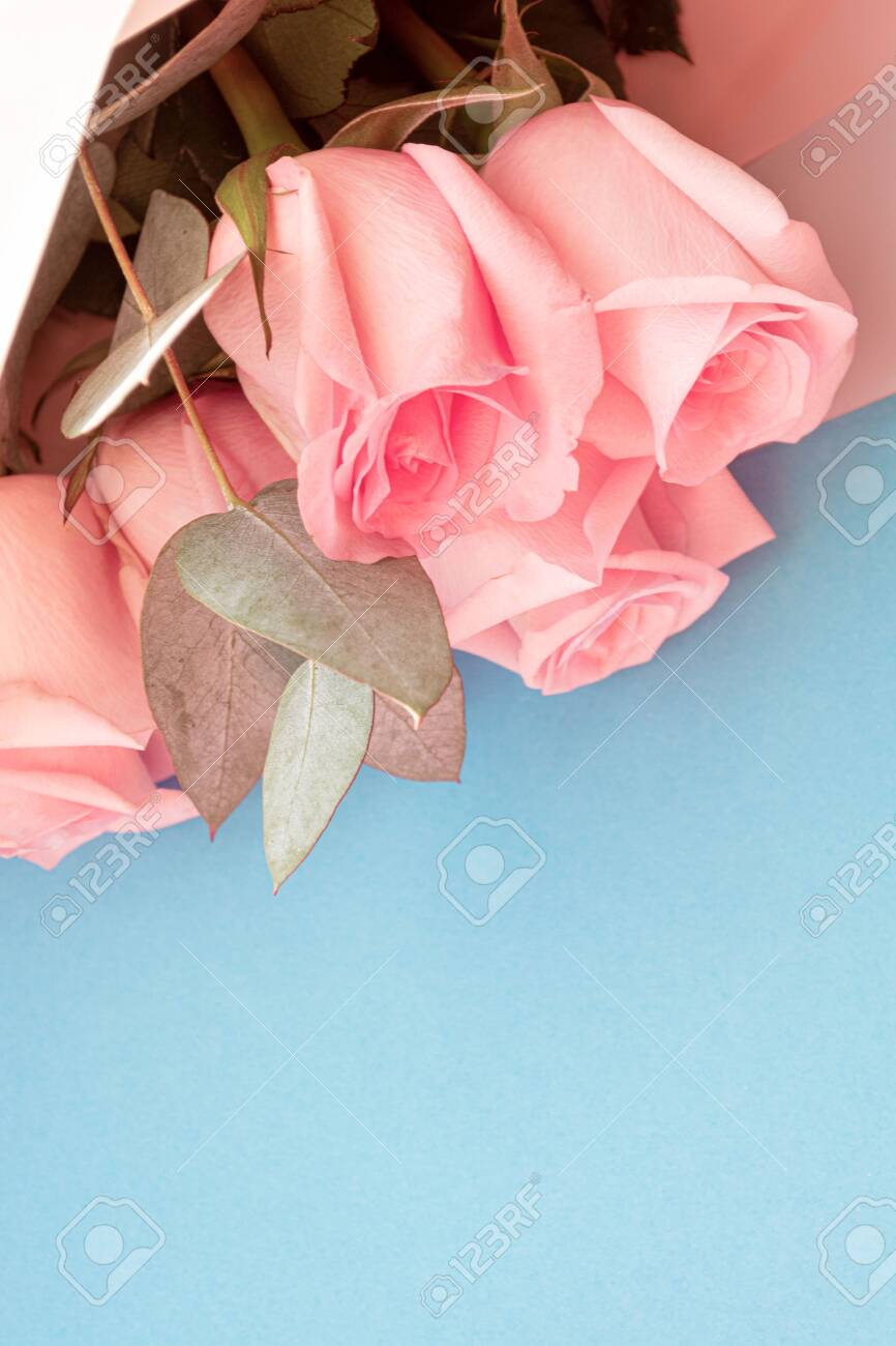 Soft Dusky Pink Color Roses Aesthetic Bouquet With Eucalyptus Stock Photo Picture And Royalty Free Image Image 142366824
