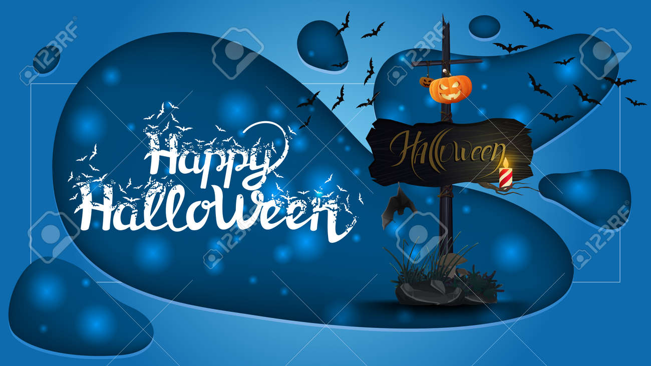 Happy Halloween, horizontal greeting banner with old wooden sign with attached pumpkin Jack - 158610995