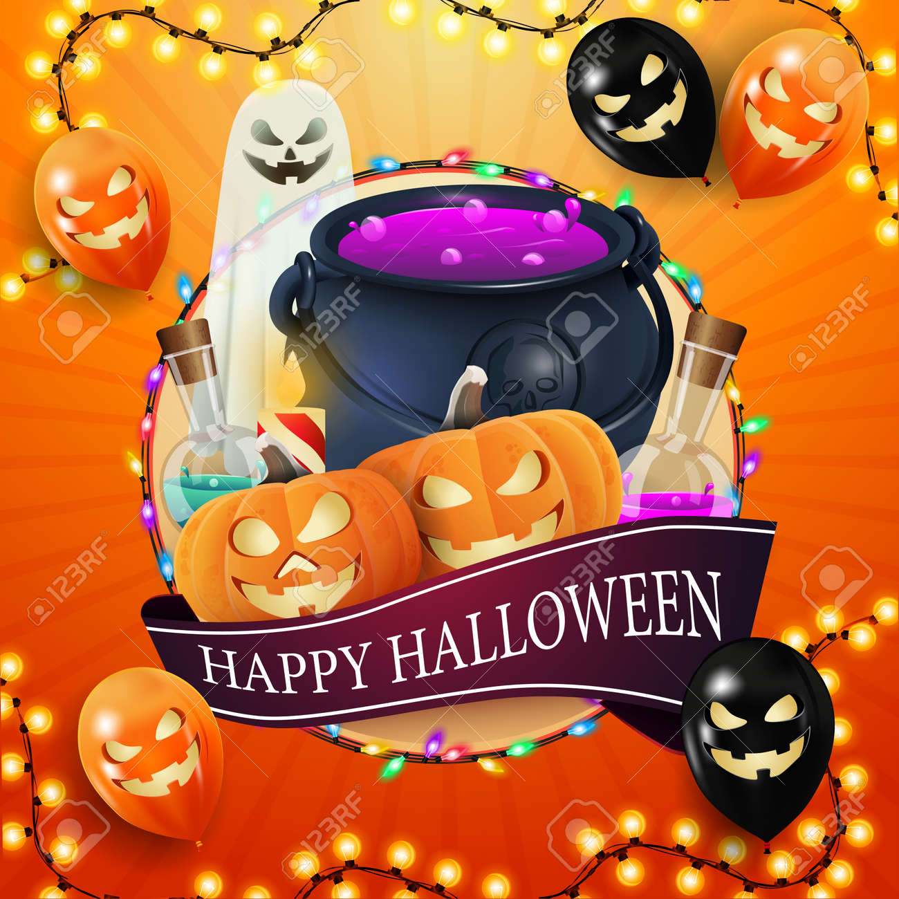Happy Halloween, square orange, template for your creativity with big circle, garland, ribbon with greeting, halloween ballons, ghost, witch's cauldron and pumpkin Jack - 158618038