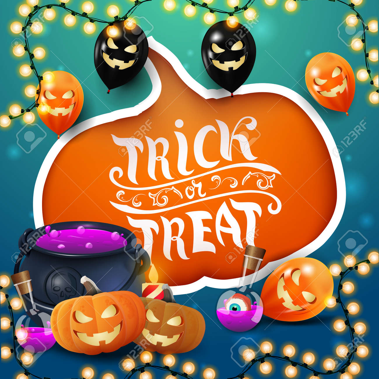 Trick or treat, creative greeting postcard with large cut pumpkin, Halloween balloons, witch's cauldron and pumpkin Jack - 158618727