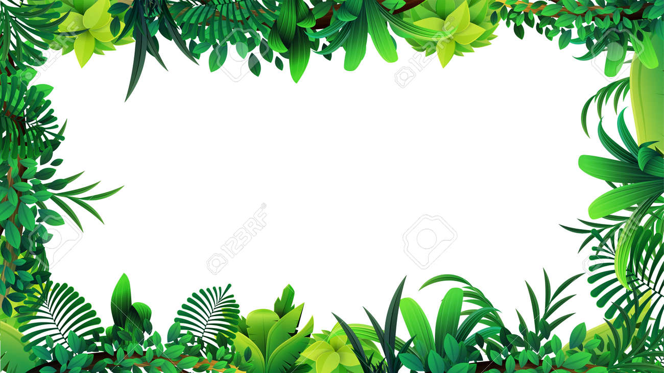 A frame of tropical leaves around a white empty space. Layout of a frame made of tropical elements for your creativity - 158914448