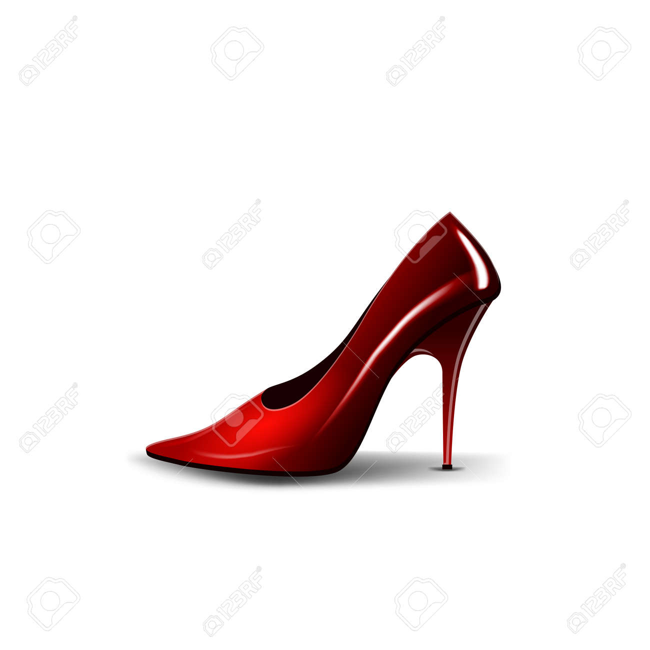 Womens red Shoe isolated on white background for your creativity - 166960246