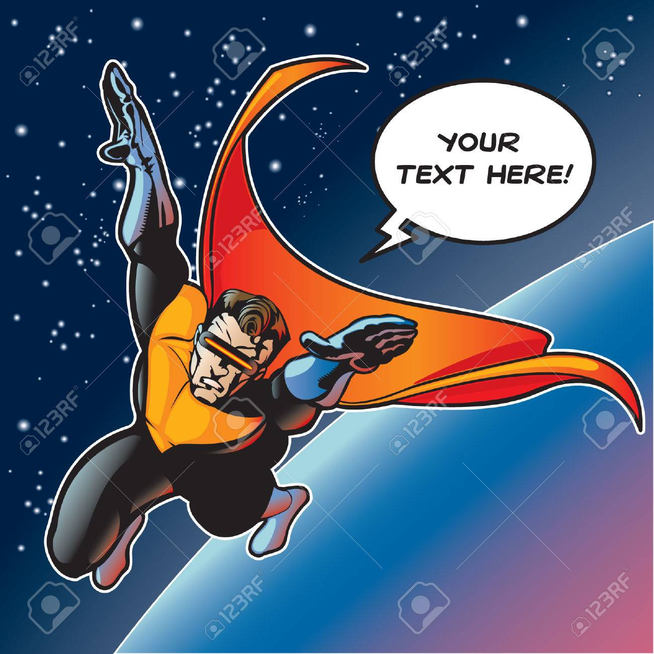 hero with cape flying above a planet. Vector file is layered so visor can be removed and eyes can be seen (if needed). Stock Vector - 6338323